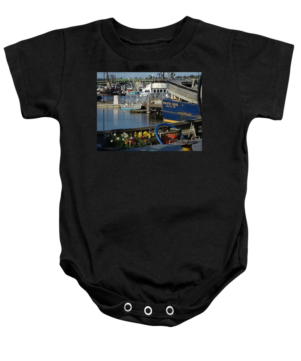 Boats Baby Onesie featuring the photograph Flowers At Fisherman's Terminal by Shirley Stevenson Wallis