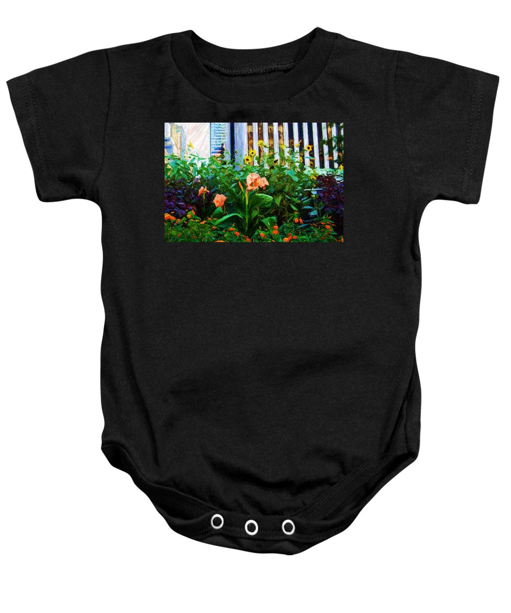 Flowers Baby Onesie featuring the digital art Flowers At The Fountain Of The Plaza Hotel by Randy Aveille