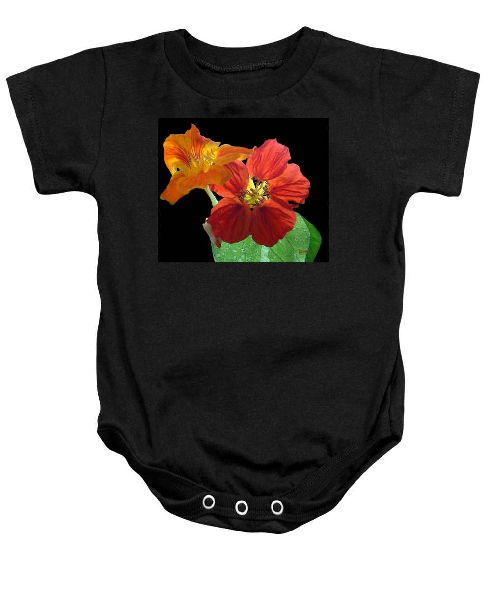 Nasturtiums Baby Onesie featuring the painting Flowers For Ebie by RC DeWinter
