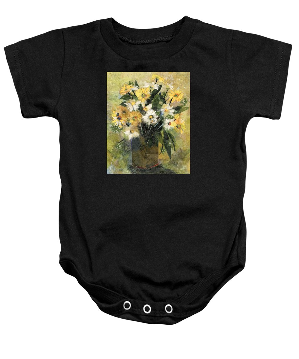 Limited Edition Prints Baby Onesie featuring the painting Flowers In White And Yellow by Nira Schwartz