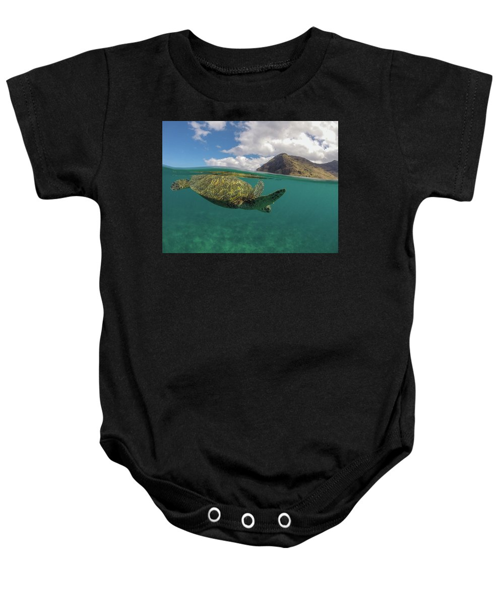 Honu Baby Onesie featuring the photograph Flying Honu by Megan Martens