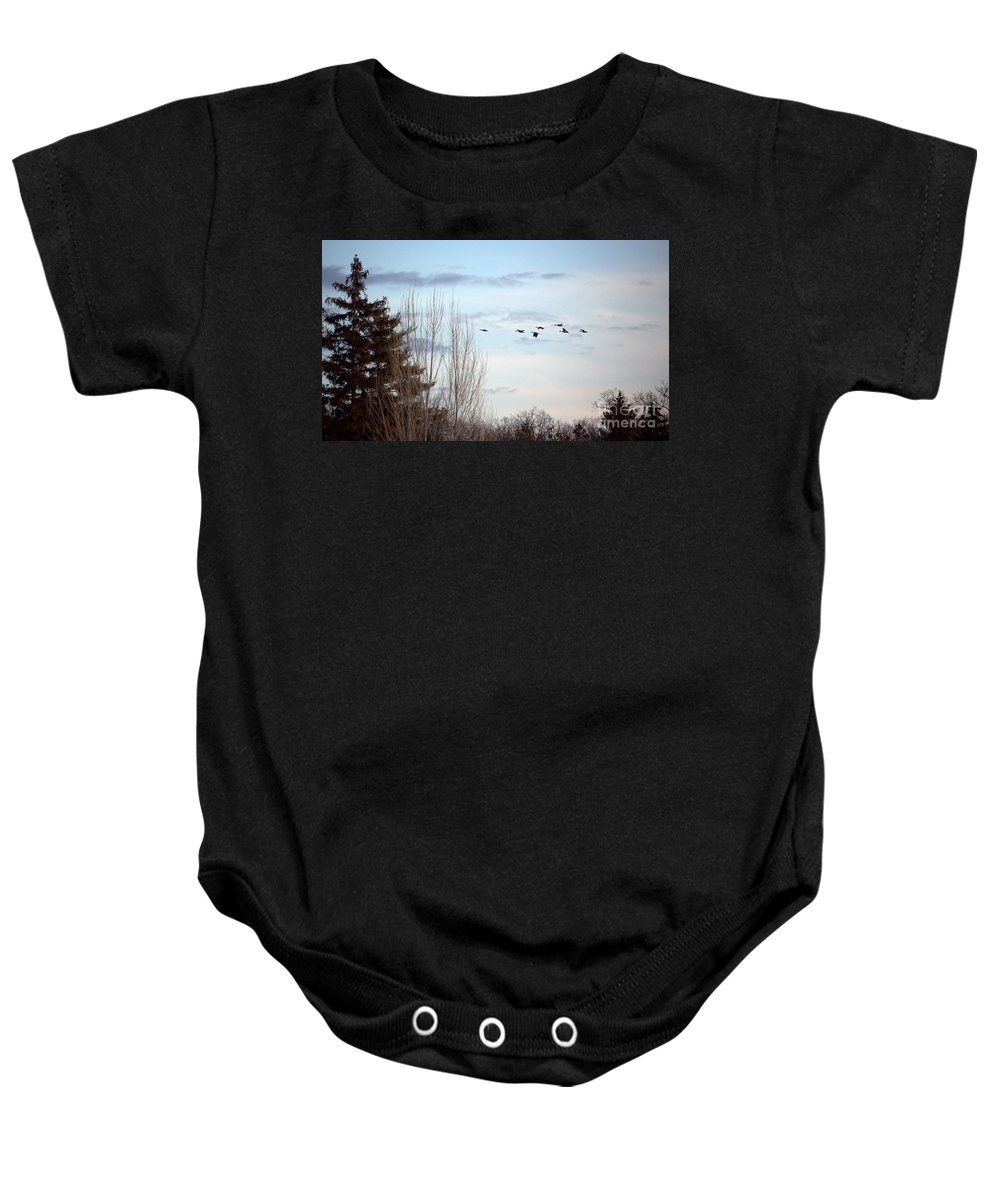 Grand Bend Baby Onesie featuring the photograph Flying North by John Scatcherd