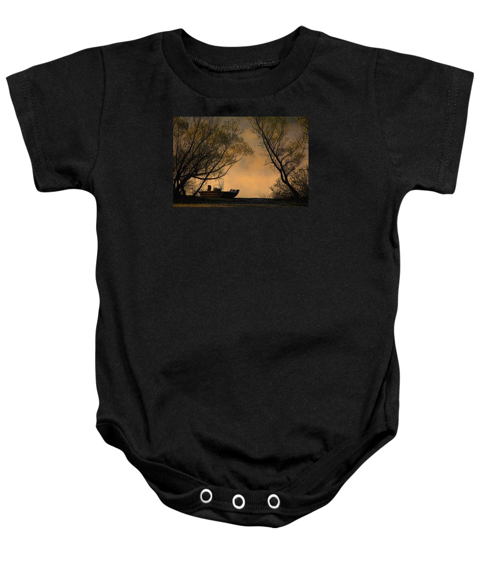 Fishing Boat Baby Onesie featuring the photograph Foggy Morning Fishing Boat by Carolyn Fletcher