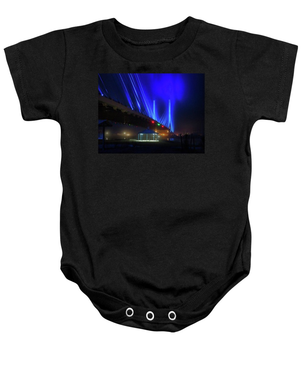 Foggy Night Baby Onesie featuring the photograph Foggy Night At The Indian River Bridge by Bill Swartwout Fine Art Photography