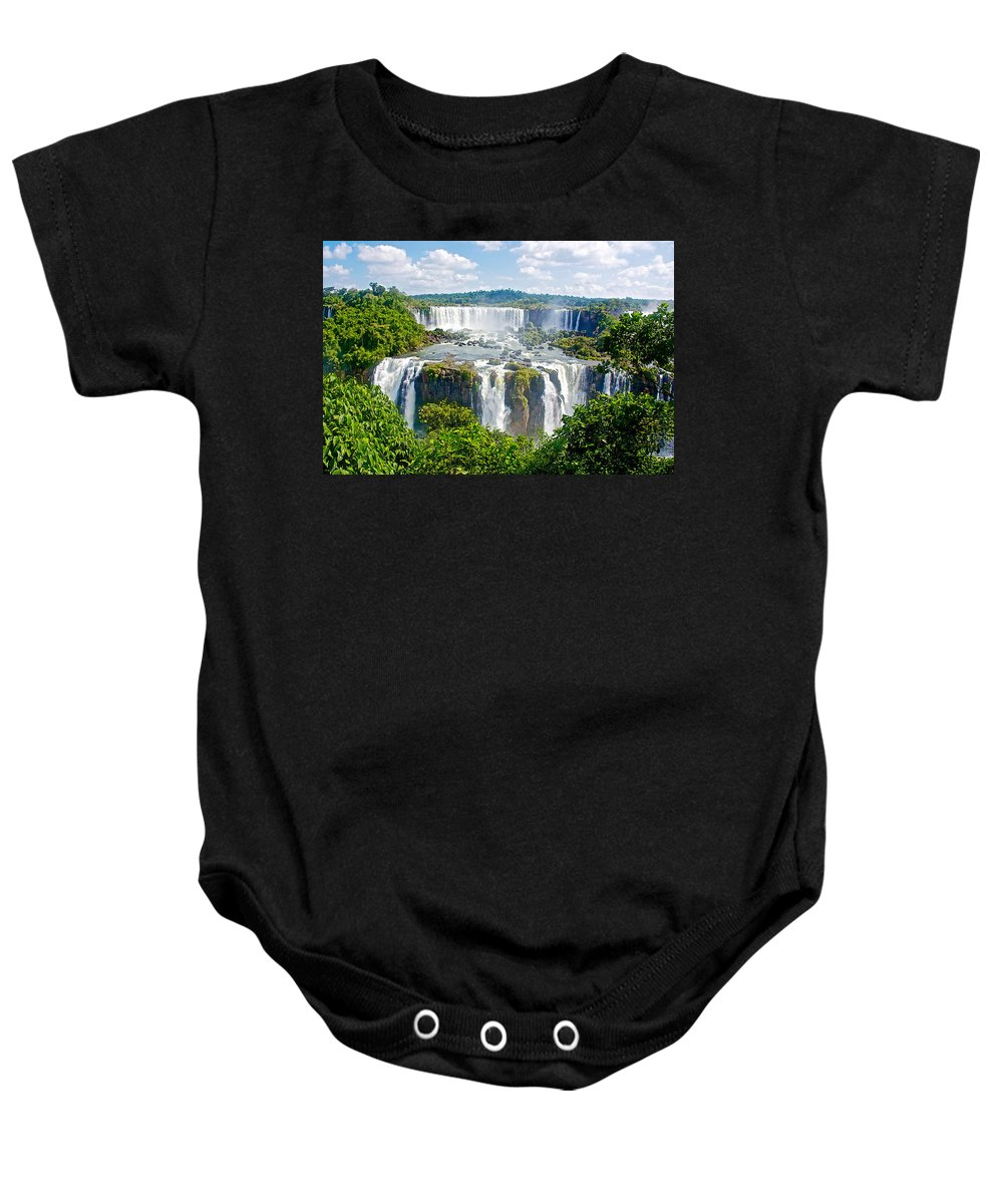 Foliage In And Around Waterfalls In Iguazu Falls National Park Baby Onesie featuring the photograph Foliage In And Around Waterfalls In Iguazu Falls National Park-brazil by Ruth Hager