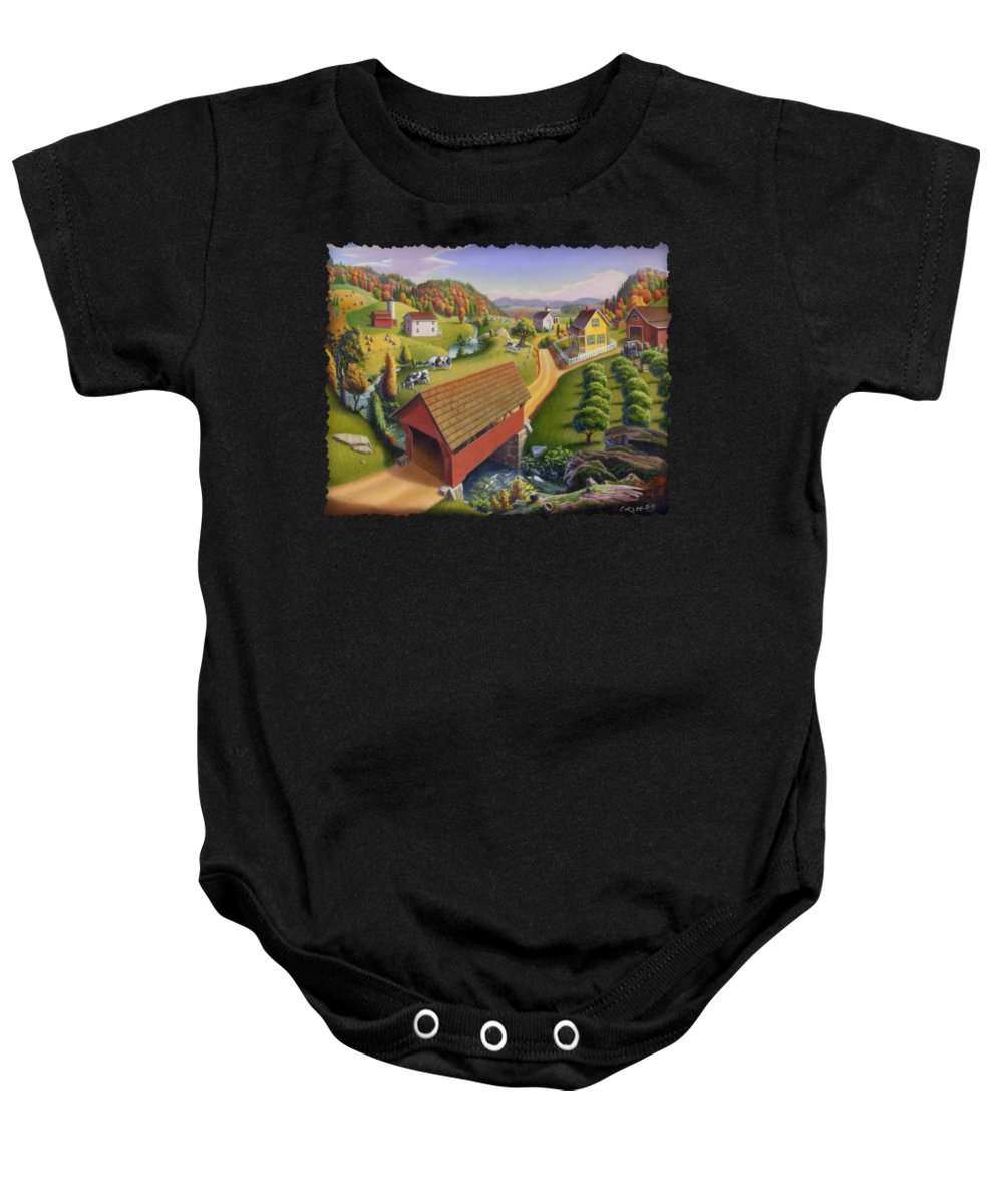 Covered Bridge Baby Onesie featuring the painting Folk Art Covered Bridge Appalachian Country Farm Summer Landscape - Appalachia - Rural Americana by Walt Curlee