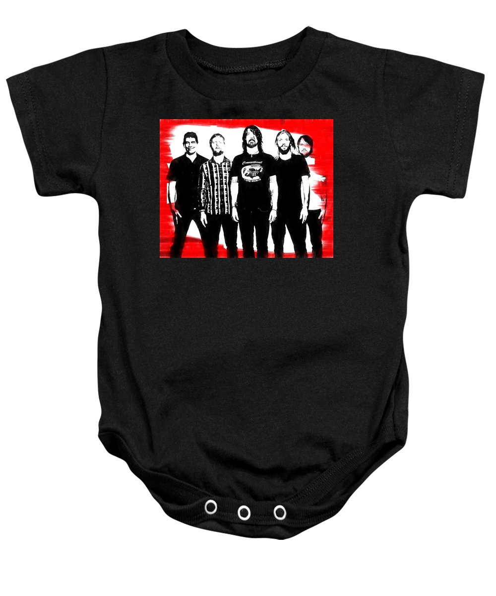 7eef4db8d Foo Fighters Graphic Tribute Baby Onesie featuring the digital art Foo  Fighters Graphic Tribute by Dan