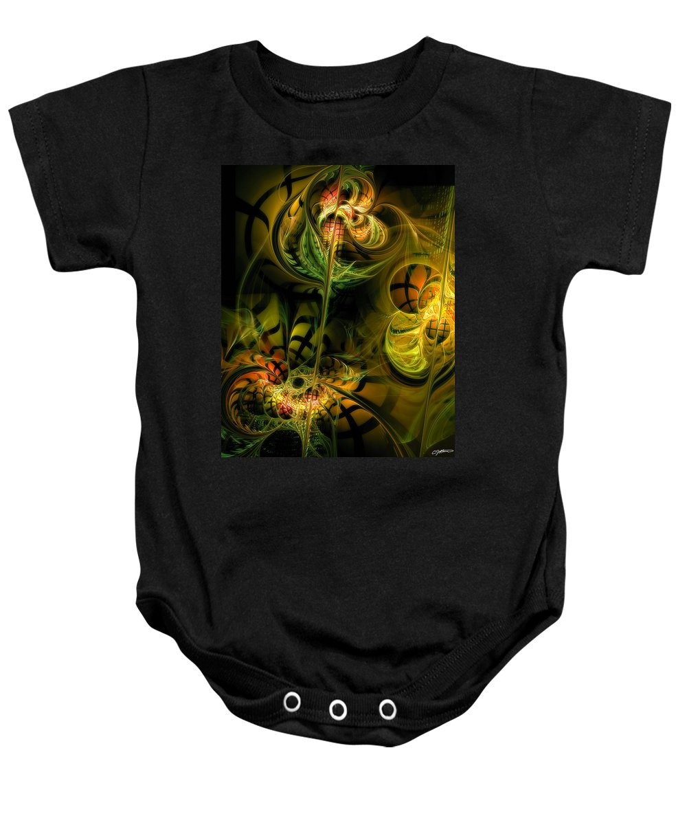 Abstract Baby Onesie featuring the digital art Food For Thought by Casey Kotas