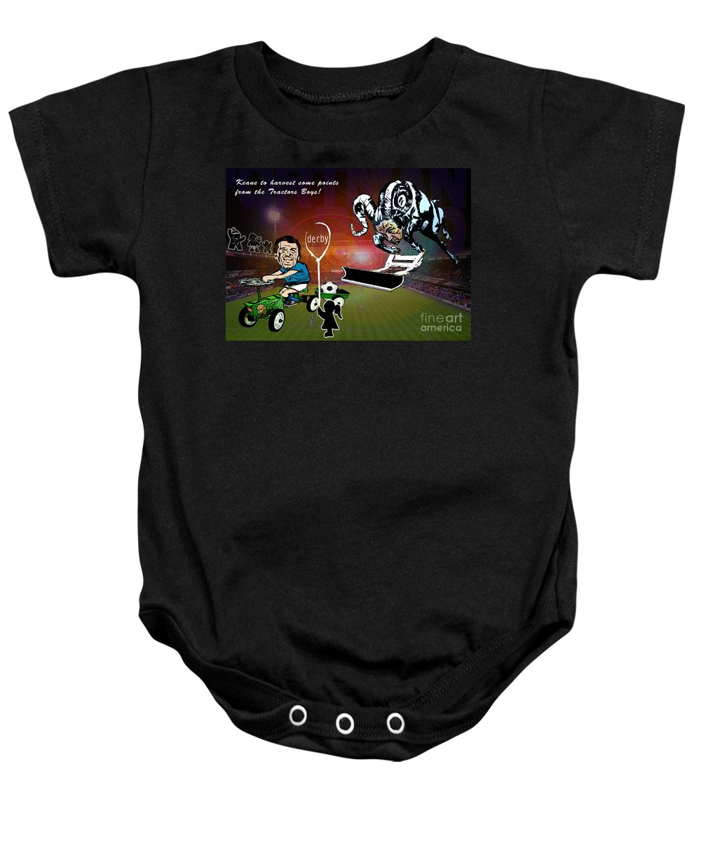 Baby Onesie featuring the painting Football Derby Rams Against Ipswich Tractor Boys by Miki De Goodaboom