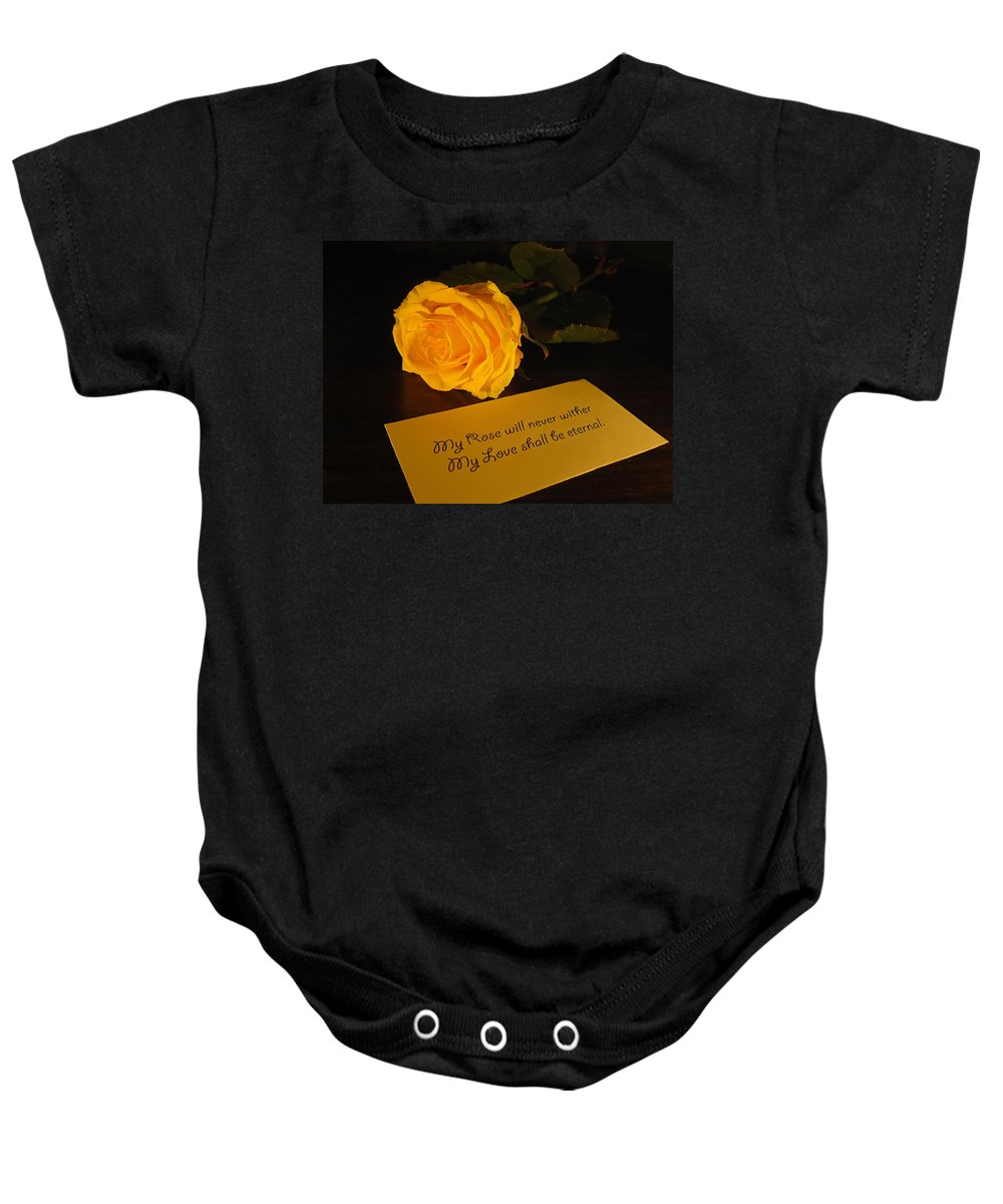 Valentine Baby Onesie featuring the photograph For My Love by Daniel Csoka