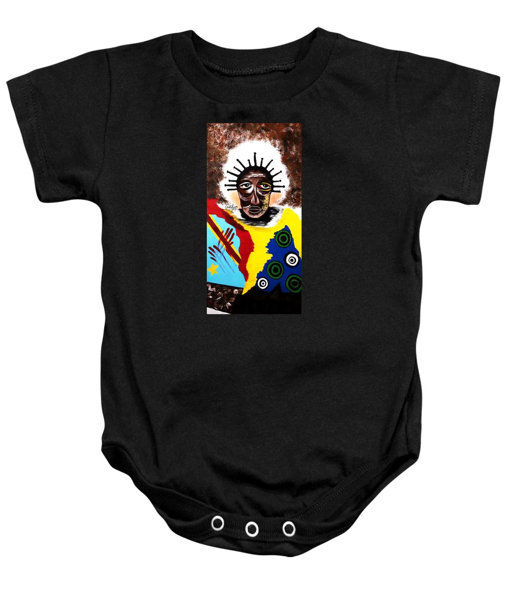Congo Baby Onesie featuring the painting For The Women Of The Congo by Carla J Lawson