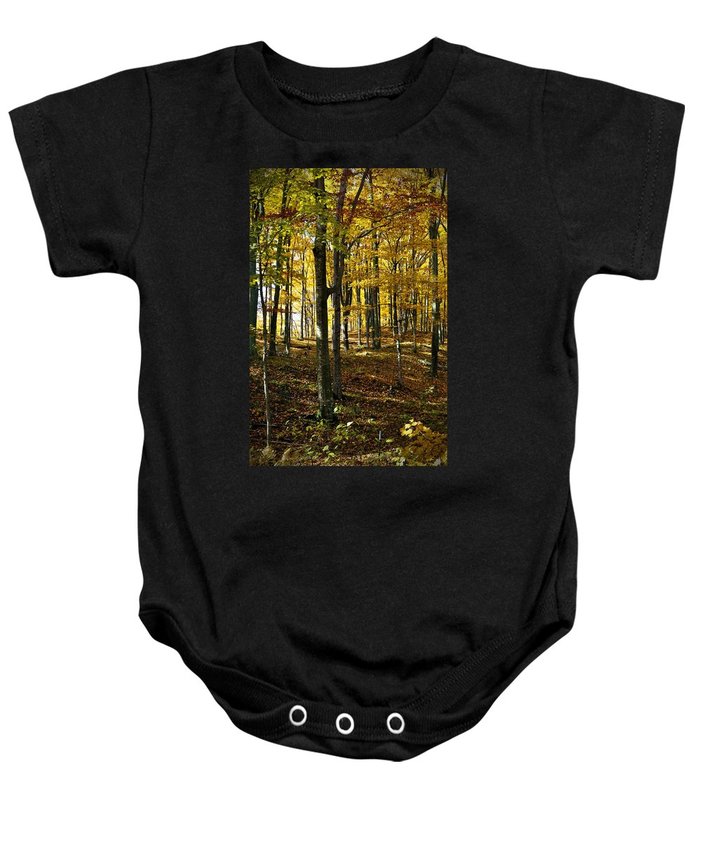 Autumn Baby Onesie featuring the photograph Forest Floor by Tim Nyberg