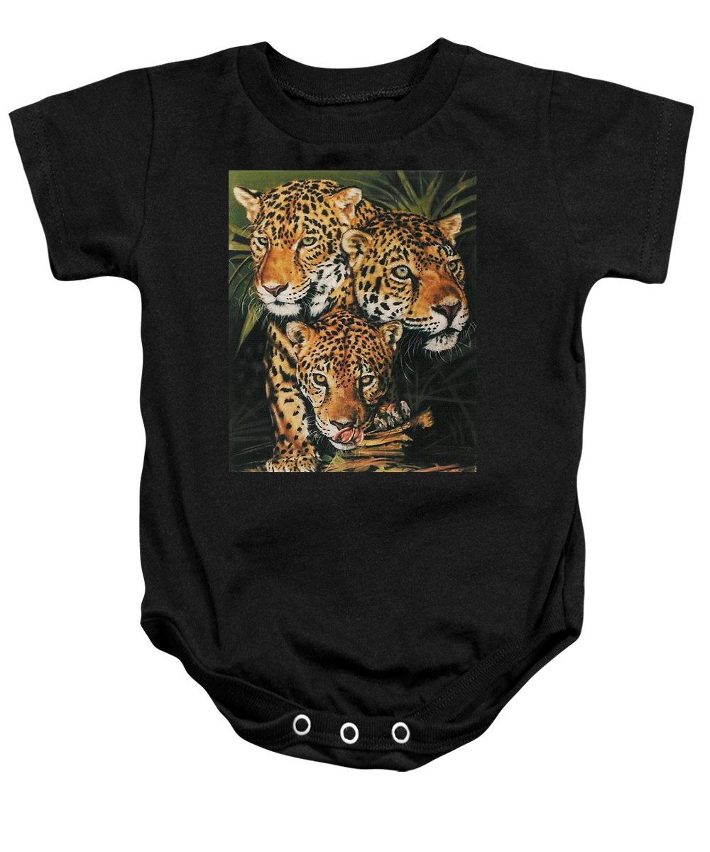 Jaguar Baby Onesie featuring the pastel Forest Jewels by Barbara Keith