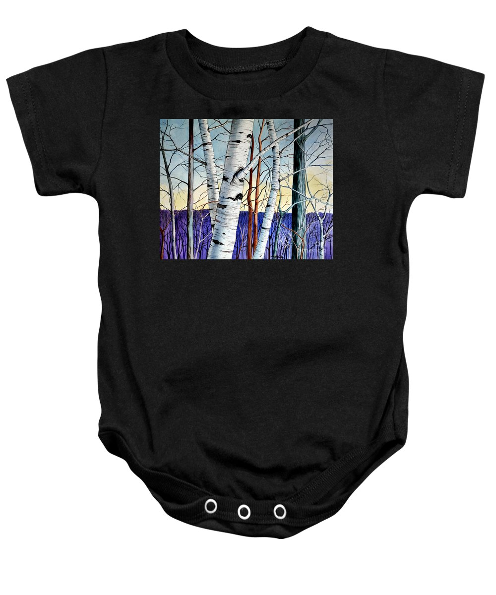 Birch Baby Onesie featuring the painting Forest Of Trees by Christopher Shellhammer