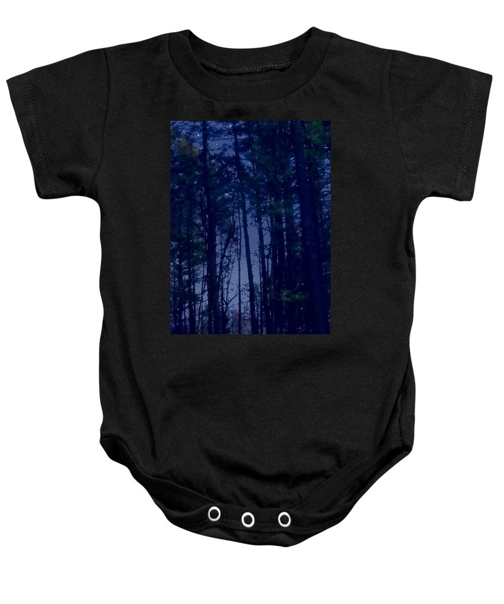 Forest Baby Onesie featuring the painting Forest Starlight by Paul Sachtleben