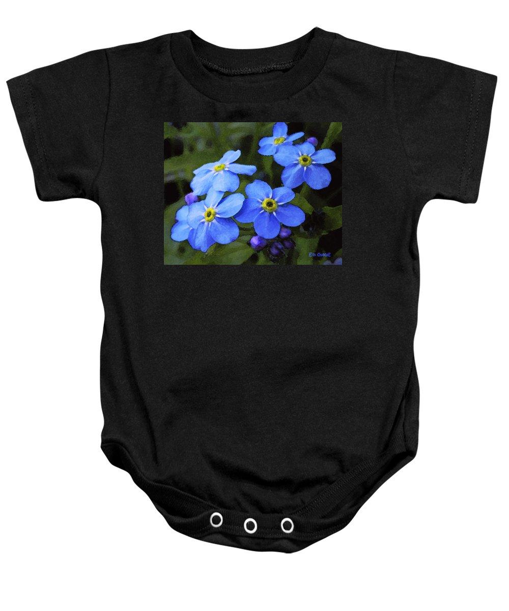 Flowers Baby Onesie featuring the photograph Forget Me Nots by Ed A Gage