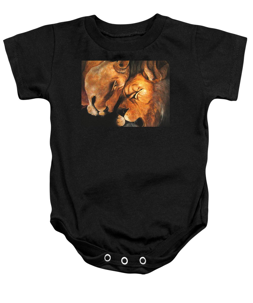 Lion Baby Onesie featuring the painting Forgiven by Glory Fraulein Wolfe