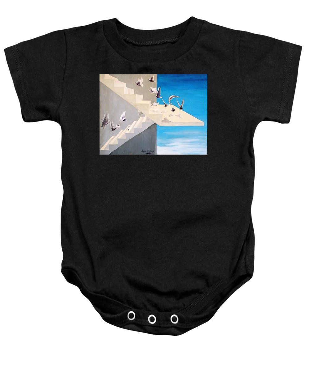 Birds Baby Onesie featuring the painting Form Without Function by Steve Karol