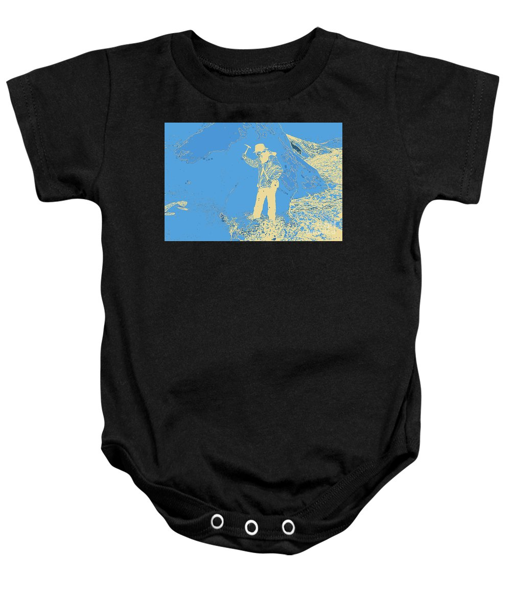 Fossil Hunter Blue Yellow Baby Onesie featuring the digital art Fossil Hunter Blue Yellow by Chris Taggart