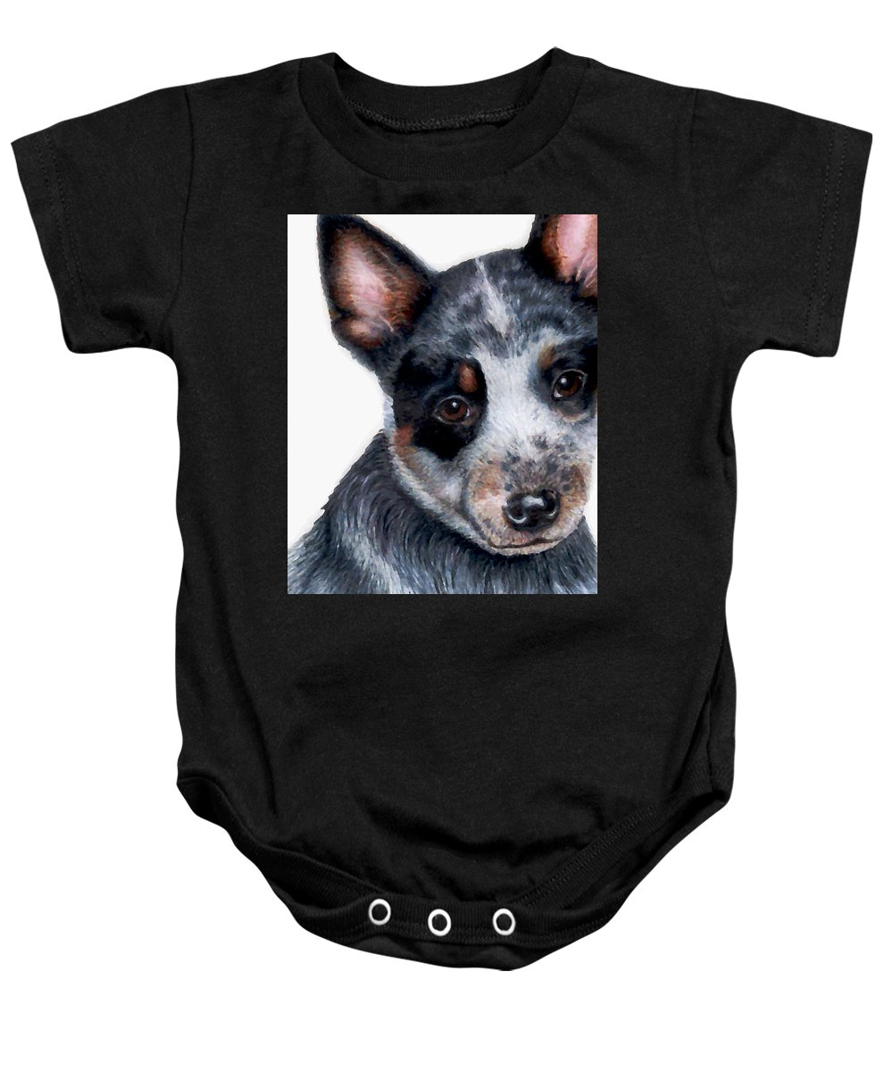 Australian Cattle Dog Baby Onesie featuring the drawing Foster Detail by Kristen Wesch
