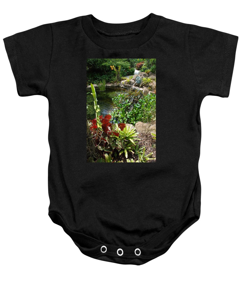 Macro Baby Onesie featuring the photograph Fountain Flowers by Rob Hans