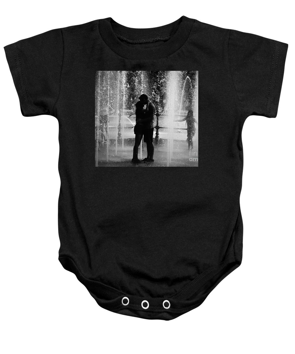 Black&white Baby Onesie featuring the photograph Fountain Love by Miroslav Hristov