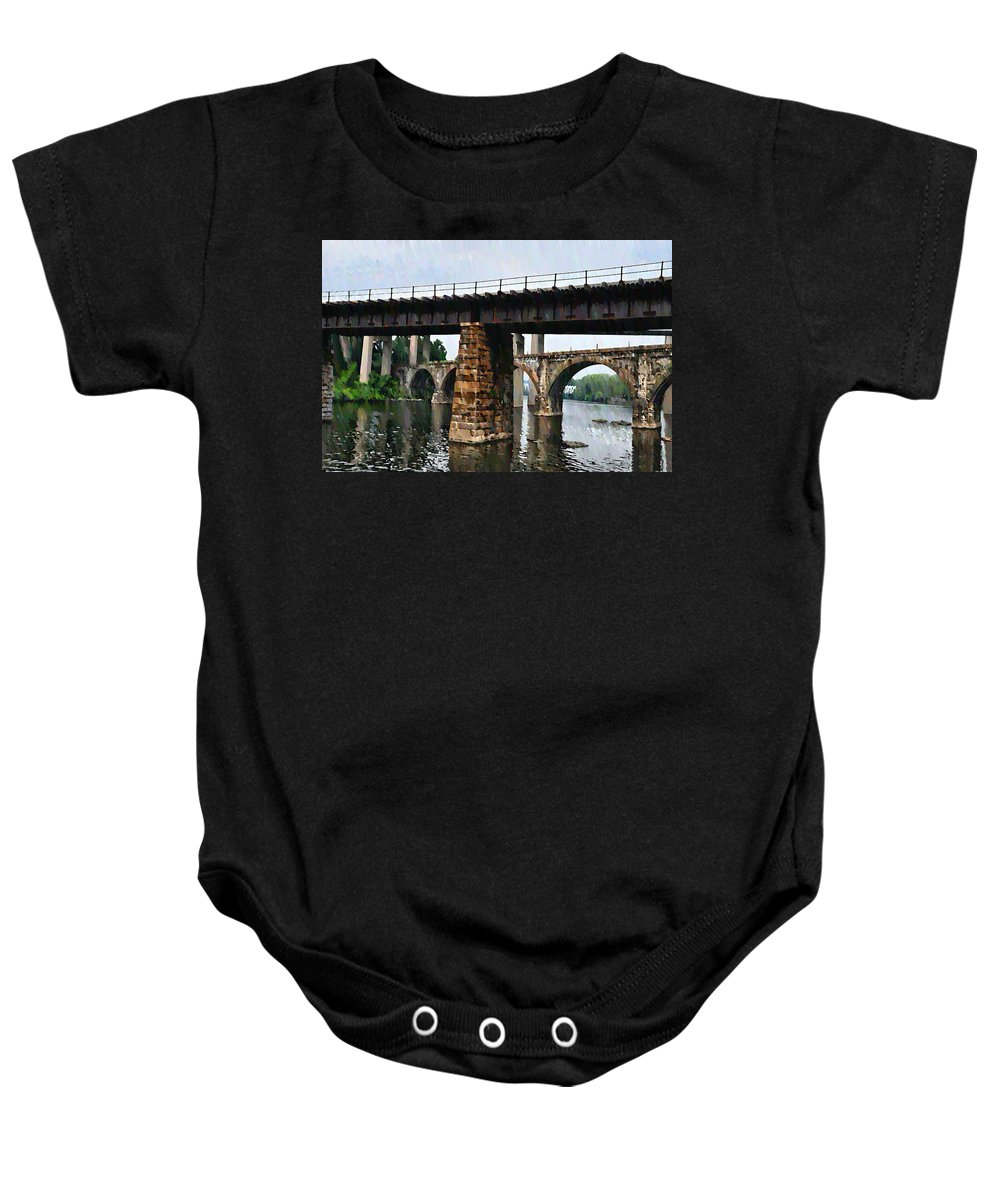 Bridge Baby Onesie featuring the photograph Four Bridges Of East Falls by Bill Cannon