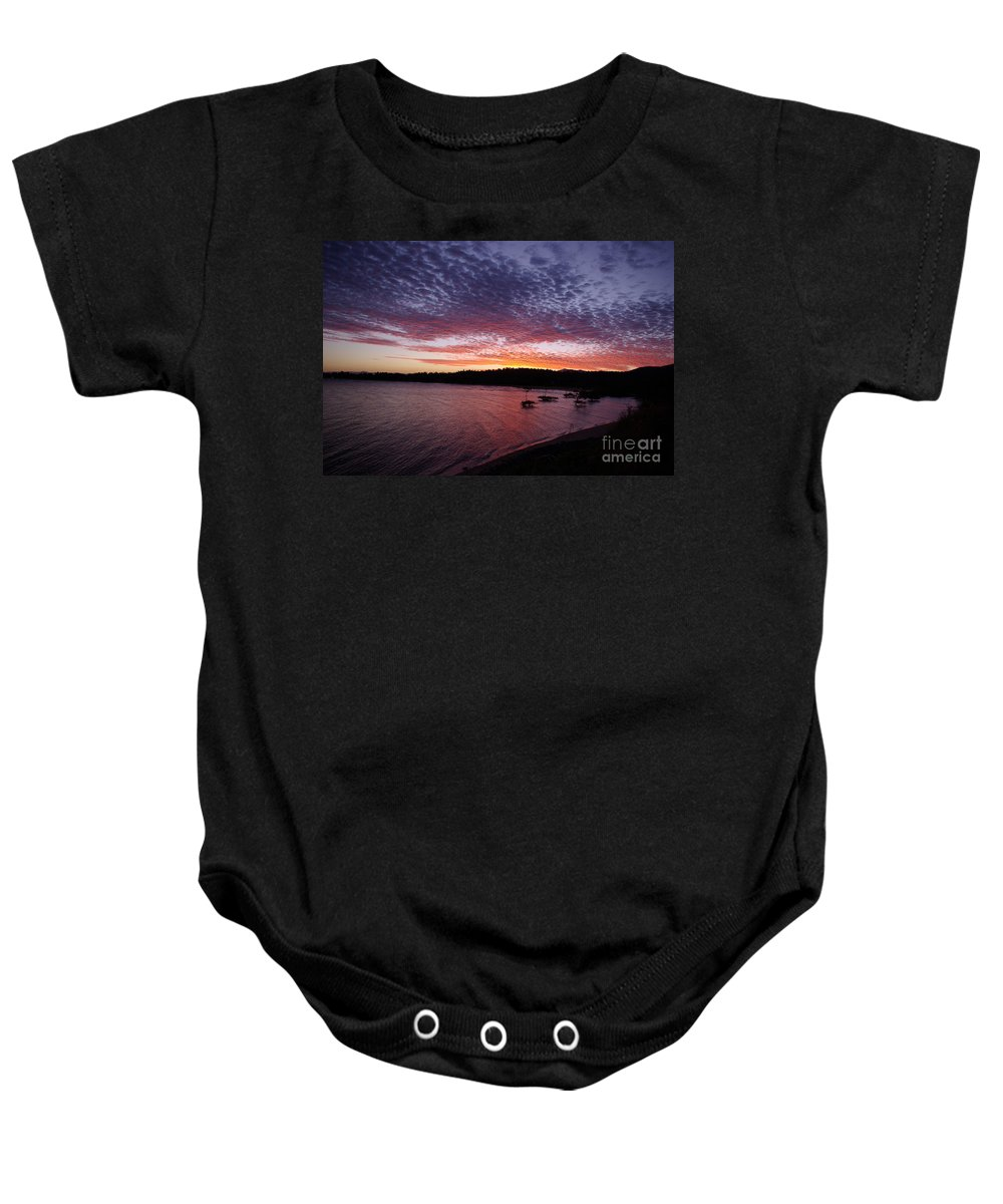 Landscape Baby Onesie featuring the photograph Four Elements Sunset Sequence 1 Coconuts Qld by Kerryn Madsen - Pietsch