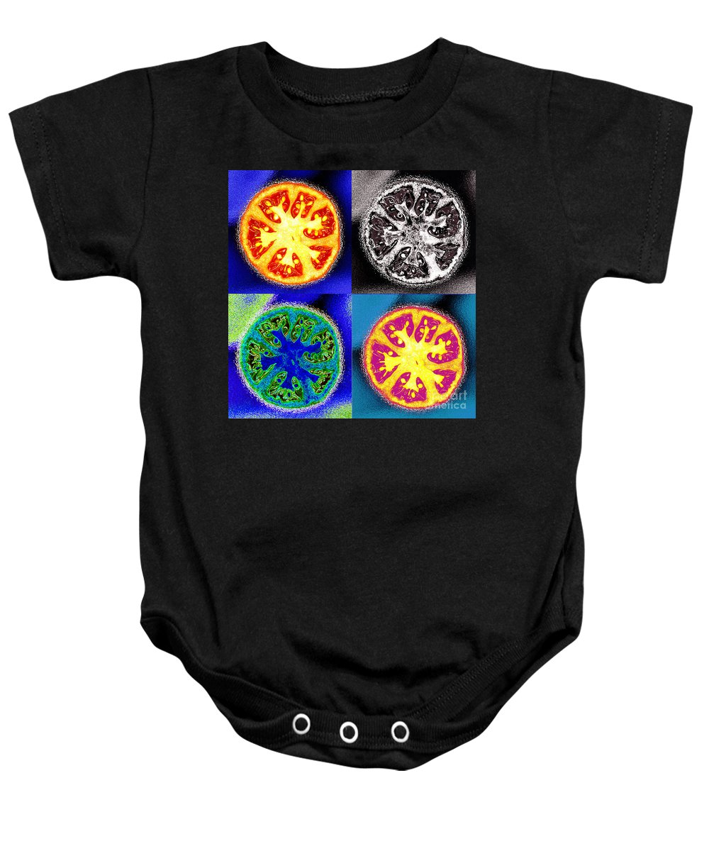 Tomatoes Baby Onesie featuring the photograph Four Tomatoes by Nancy Mueller