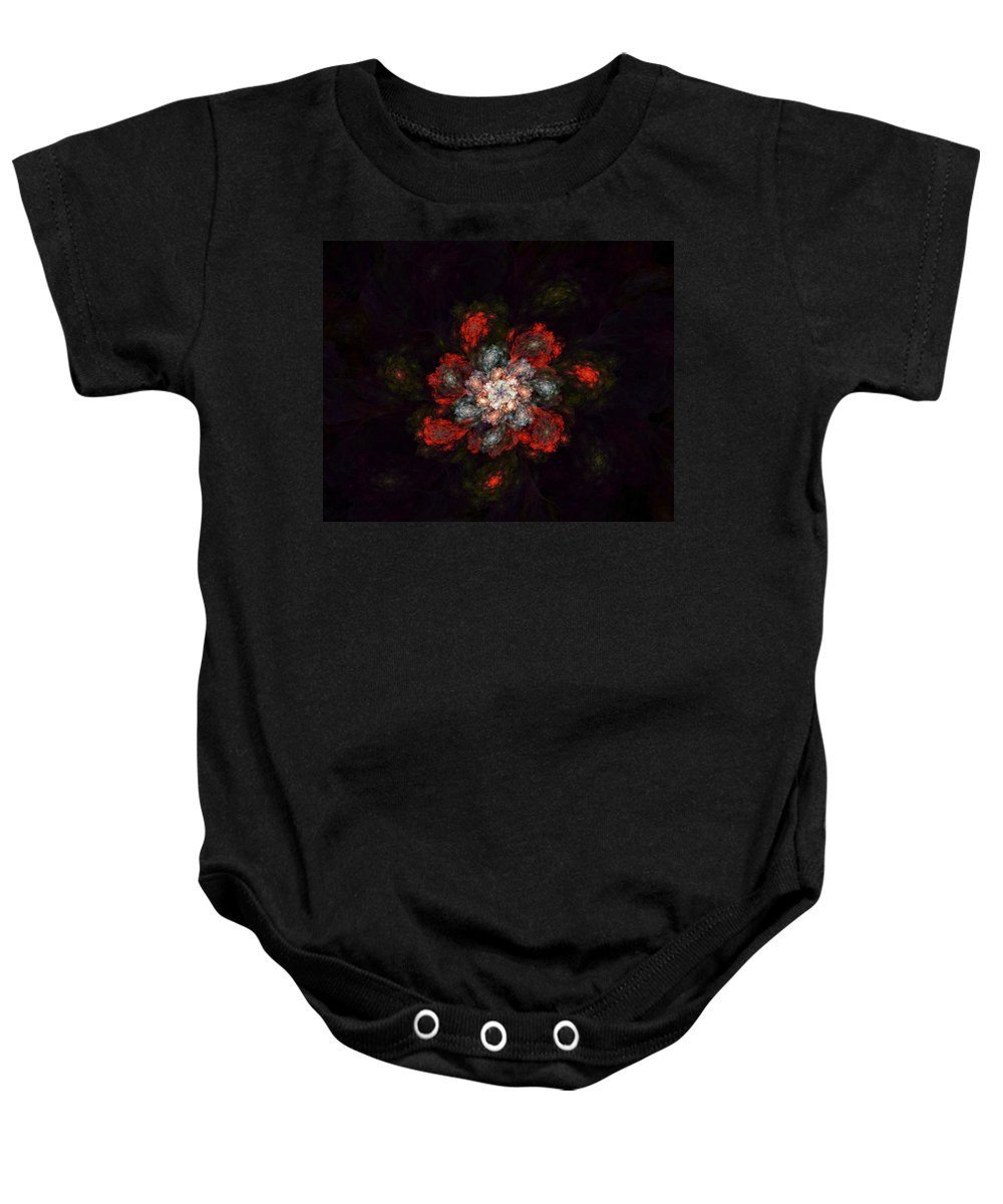 Digital Painting Baby Onesie featuring the digital art Fractal Floral 02-12-10-a by David Lane