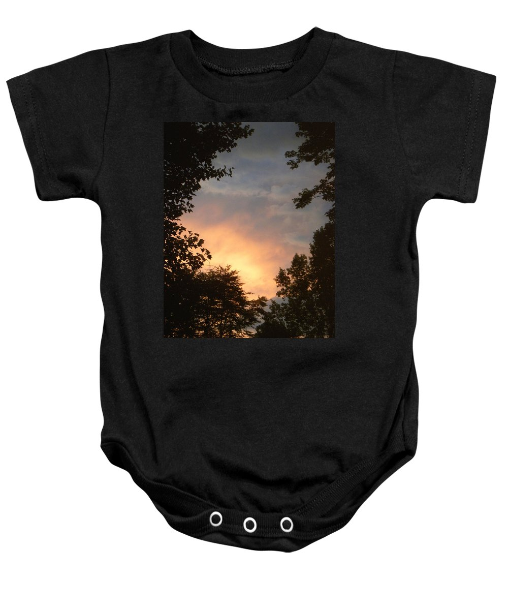Sunset Baby Onesie featuring the photograph Framed Fire In The Sky by Sandi OReilly