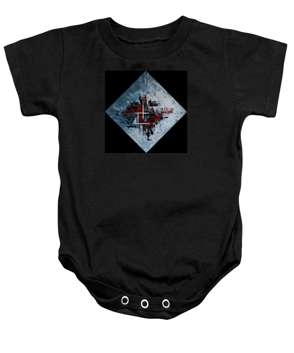 Abstract Baby Onesie featuring the painting Frammenti In Rosso E Nero by Massimo Onnis