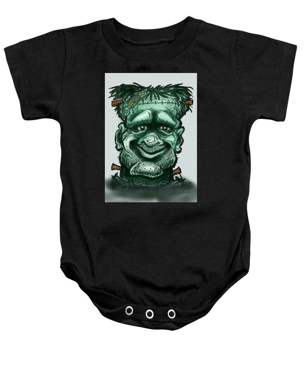 Frankenstein Baby Onesie featuring the greeting card Frankenstein by Kevin Middleton