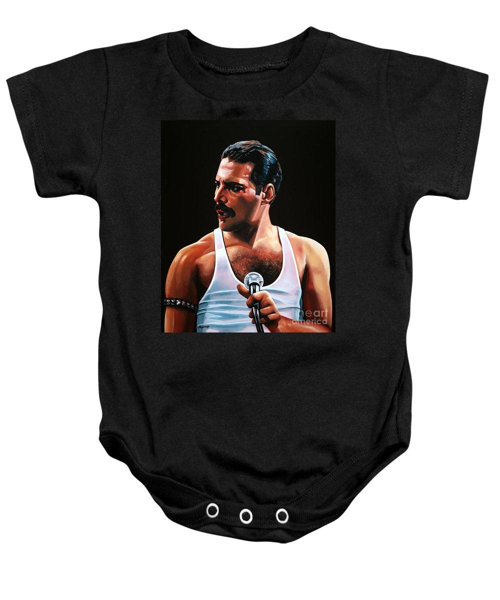 c777cc23cbd Freddie Mercury Baby Onesie featuring the painting Freddie Mercury by Paul  Meijering