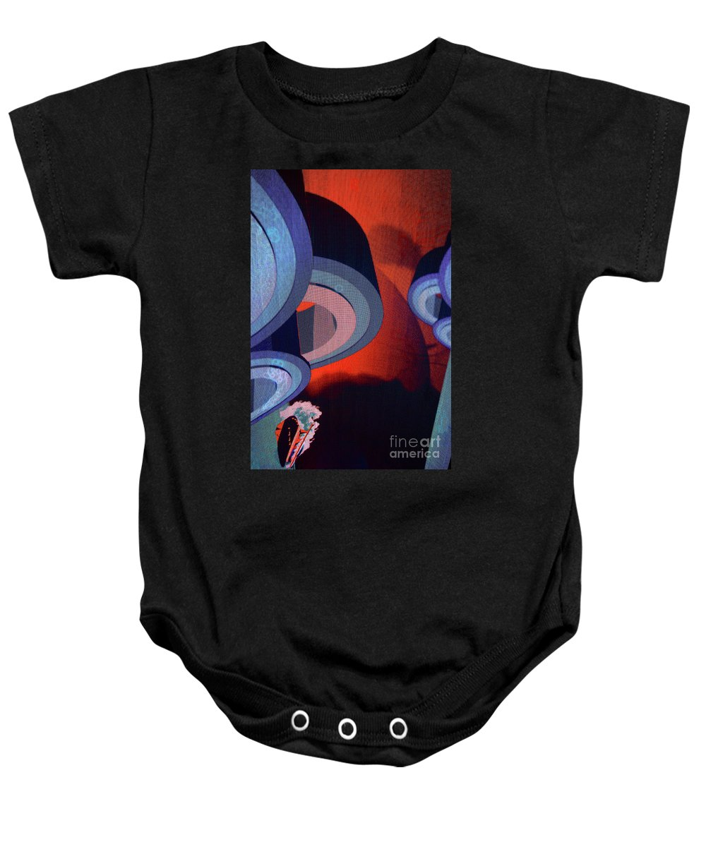 Abstract Baby Onesie featuring the photograph Freeman Street Flying Disks by Rich Walter