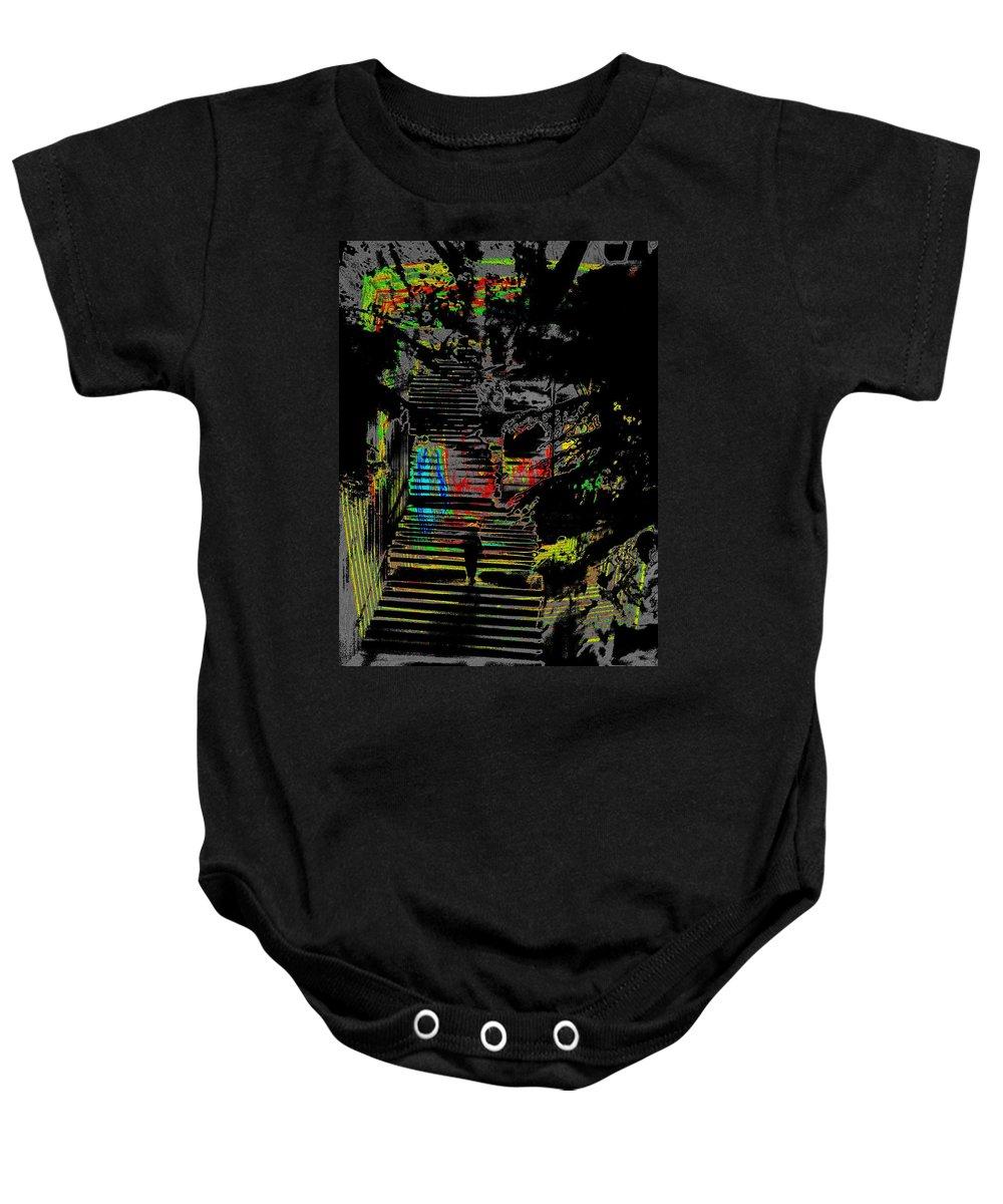 Seattle Baby Onesie featuring the digital art Freeway Park Steps by Tim Allen