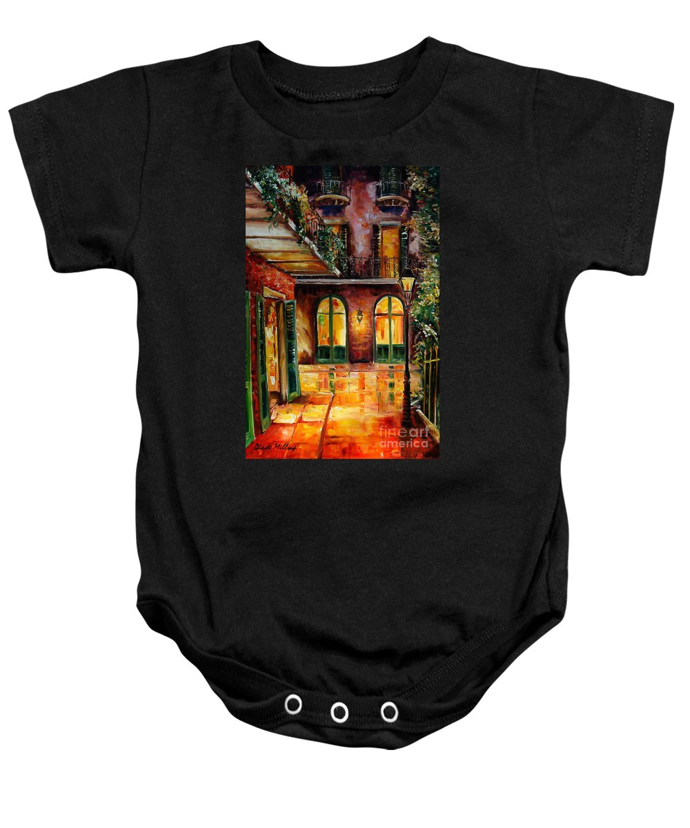 New Orleans Baby Onesie featuring the painting French Quarter Alley by Diane Millsap