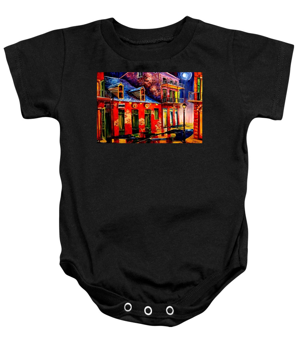New Orleans Baby Onesie featuring the painting French Quarter Dazzle by Diane Millsap