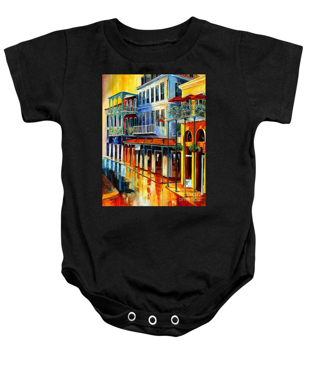 New Orleans Paintins Baby Onesie featuring the painting French Quarter Sunrise by Diane Millsap