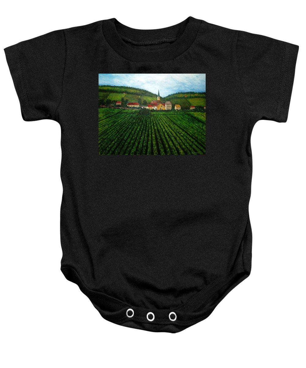 Acrylic Baby Onesie featuring the painting French Village In The Vineyards by Nancy Mueller