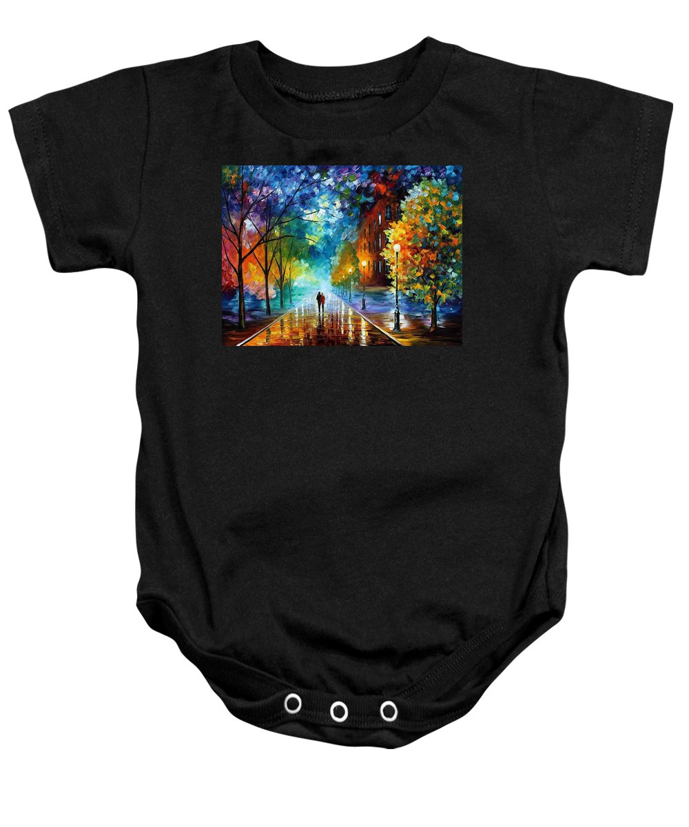 Afremov Baby Onesie featuring the painting Freshness Of Cold by Leonid Afremov