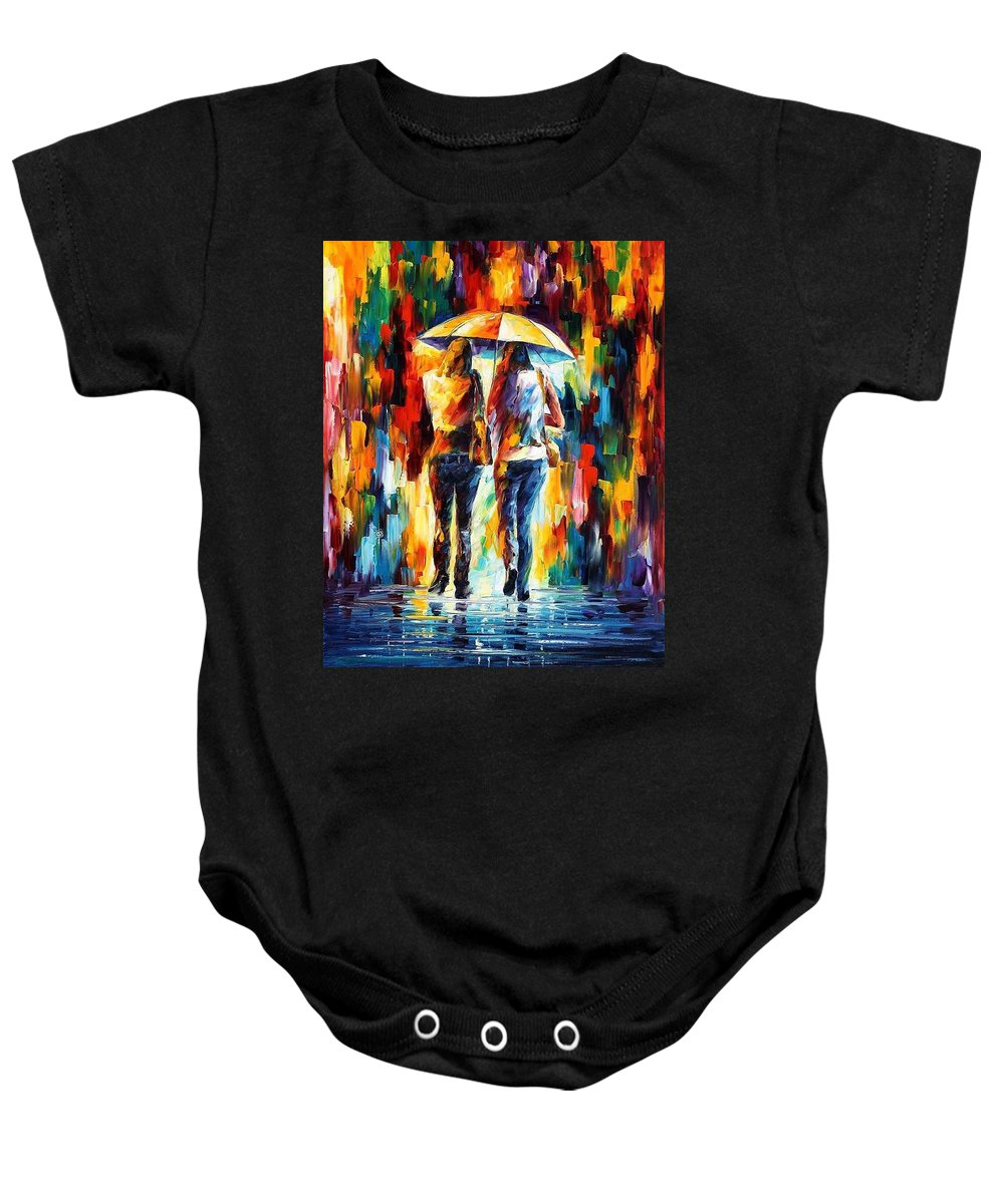 Afremov Baby Onesie featuring the painting Friends Under The Rain by Leonid Afremov