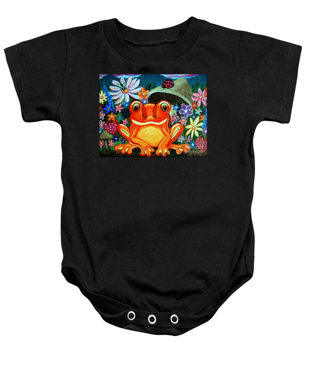 Frogs Baby Onesie featuring the painting Frog And Flowers by Nick Gustafson