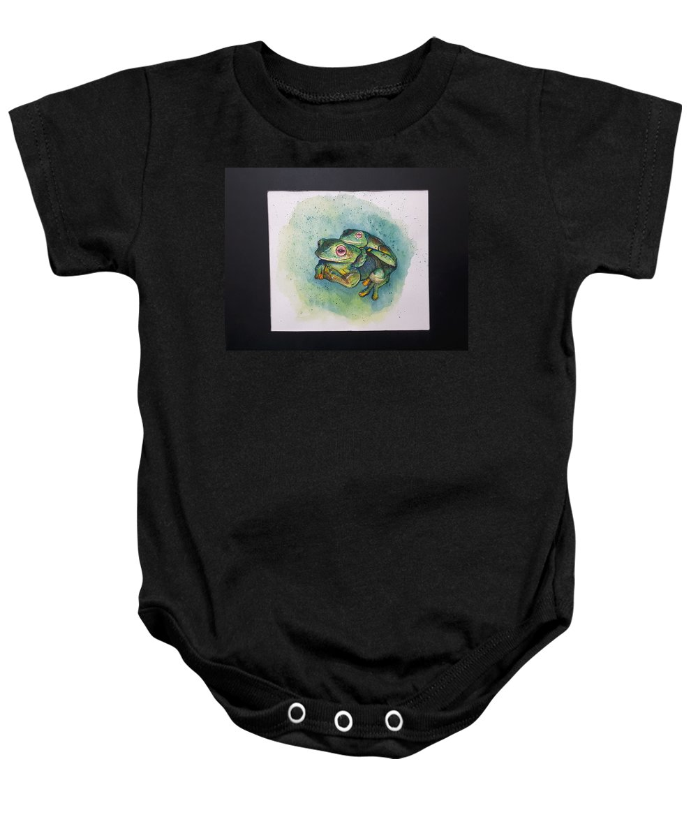 Frogs Baby Onesie featuring the painting Frogs Of Borneo L by Tan Lan Ching