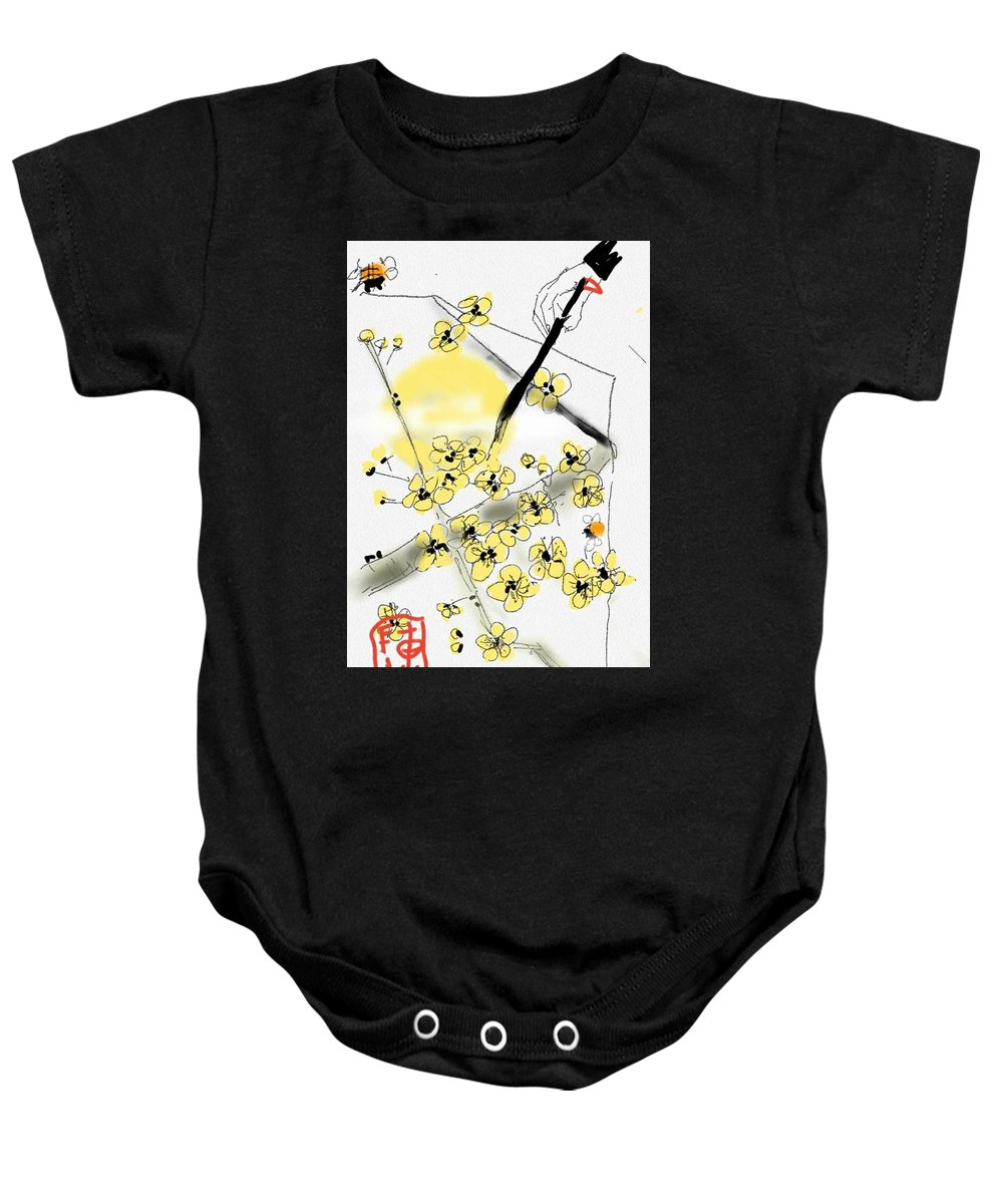 Paper. Painting. Moon. Flowers. Bees Baby Onesie featuring the digital art From Paper And Brush by Debbi Saccomanno Chan