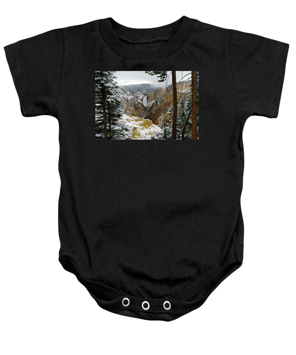 Yellowstone Baby Onesie featuring the photograph Frosted Canyon by Steve Stuller