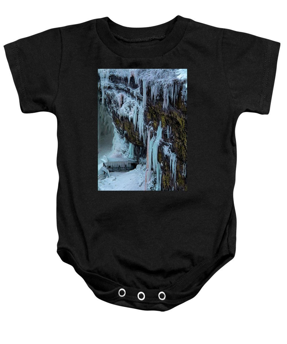 City Baby Onesie featuring the photograph Frozen by Tommy Jaksic