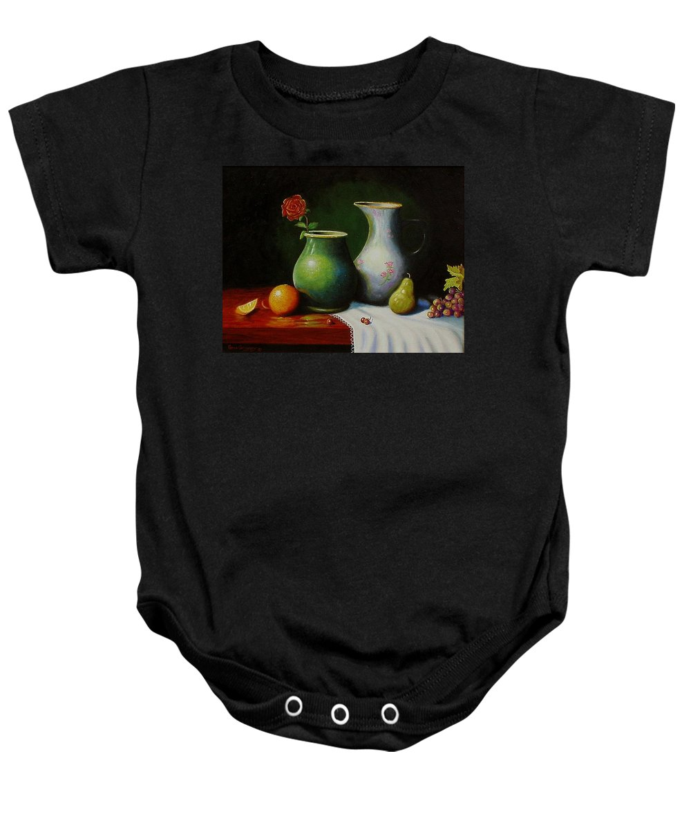 Still Life Baby Onesie featuring the painting Fruit And Pots. by Gene Gregory