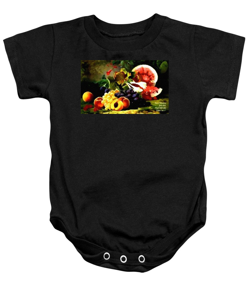 Announcement Baby Onesie featuring the painting Fruit Still-life Catus 1 No. 1 H A by Gert J Rheeders