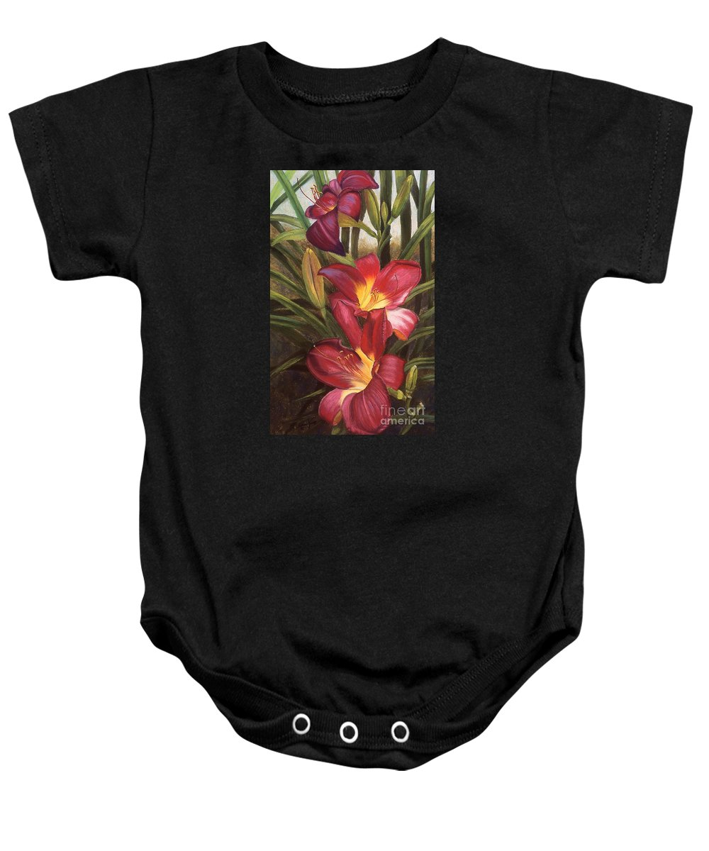Flowers Baby Onesie featuring the pastel Fuchsia Daylilys by Susan Jump